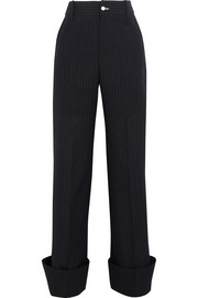 Pinstriped wool wide-leg pants