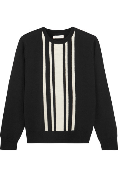 Chinti and Parker - Striped Intarsia Merino Wool Sweater - Black