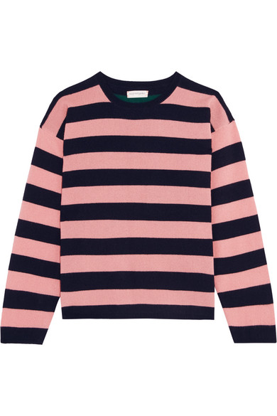 Chinti and Parker - Striped Cashmere Sweater - Baby pink