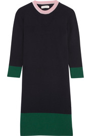 Chinti and Parker Color-block ribbed merino wool and cashmere-blend dress