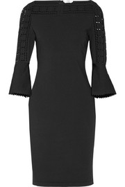 Fendi Pointelle-trimmed stretch-knit dress