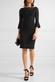 Pointelle-trimmed stretch-knit dress