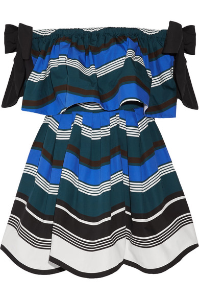 Fendi - Off-the-shoulder Bow-embellished Striped Cotton-poplin Mini Dress - Bright blue