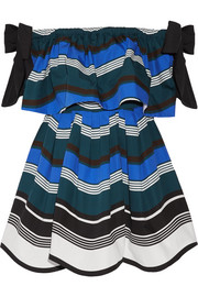 Fendi Off-the-shoulder bow-embellished striped cotton-poplin mini dress