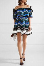 Off-the-shoulder bow-embellished striped cotton-poplin mini dress