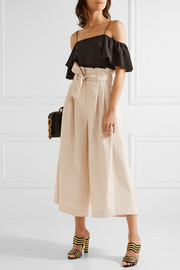 Pleated cotton-poplin culottes