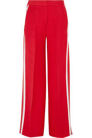 Striped wool and silk-blend wide-leg pants