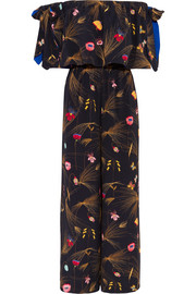 Fendi Off-the-shoulder printed cady jumpsuit