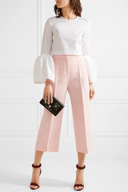 Cropped wool and silk-blend gazar wide-leg pants