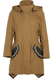 Hooded leather-trimmed cotton-taffeta parka