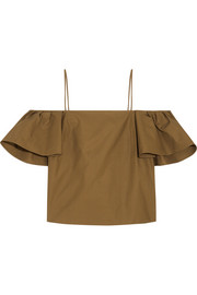 Off-the-shoulder cotton-poplin top