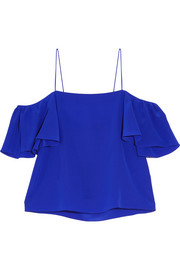 Fendi Off-the-shoulder silk crepe de chine top