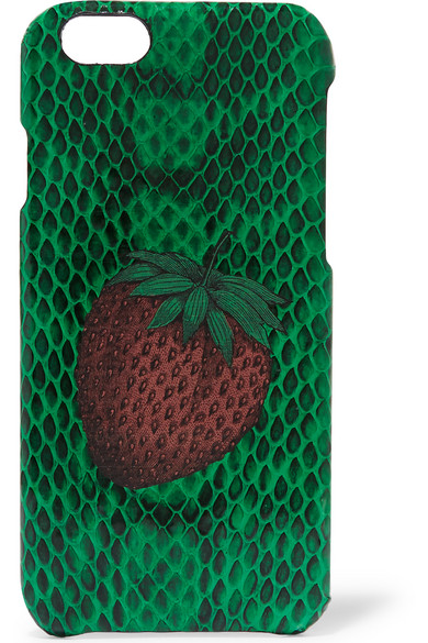 The Case Factory - Strawberry-print Elaphe Iphone 6 Case - Green
