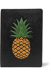 Printed lizard-effect leather passport cover
