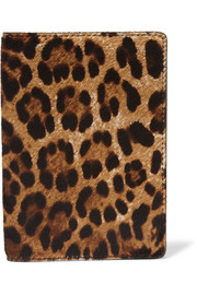 Leopard-print calf hair passport cover