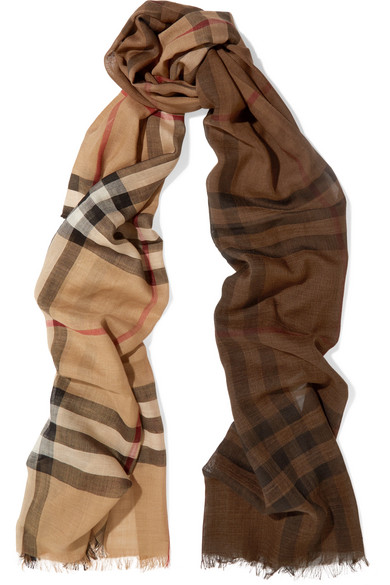 Burberry - Checked Wool And Silk Blend Scarf - Camel