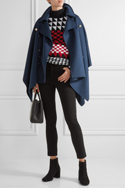 Burberry Button-detailed wool and cashmere-blend poncho
