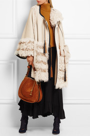 Chloé Oversized leather-trimmed patchwork shearling cape