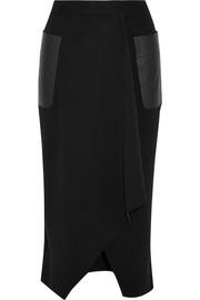 Leather-trimmed wrap-effect wool pencil skirt