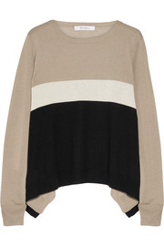 Color-block silk and cashmere-blend sweater