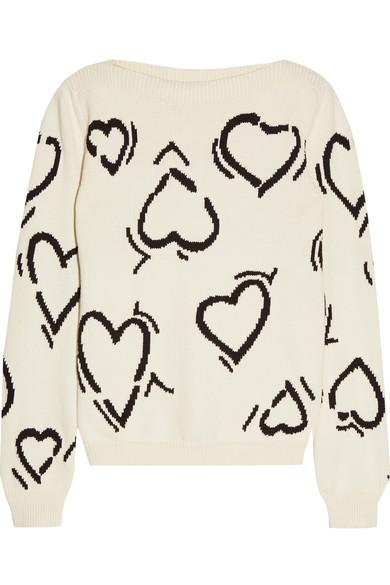 Heart intarsia cotton-blend sweater