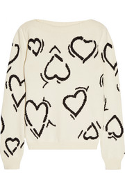 Heart intarsia cotton-blend sweater