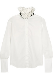 Maggie Marilyn Coco ruffled cotton and linen-blend blouse