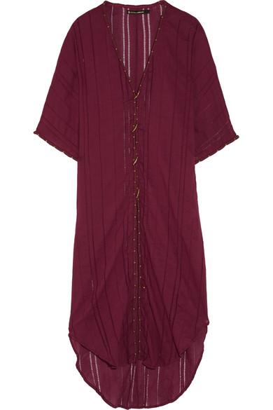 Vix - Woven Cotton-voile Kaftan - Burgundy
