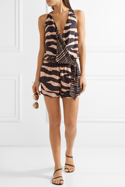 Vix Lanai Layla wrap-effect striped voile playsuit