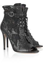 Valentino Embellished leather and lace ankle boots