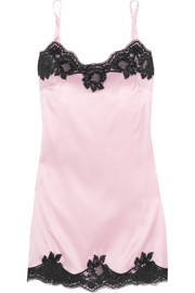 Dolce & Gabbana Lace-trimmed stretch silk-satin chemise