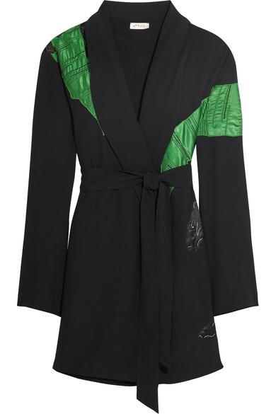 Attico - Lauren Satin-appliquéd Crepe Mini Wrap Dress - Black