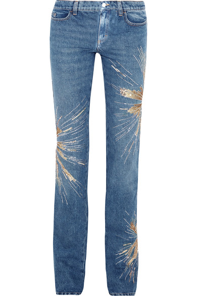 Attico - Ava Embellished Low-rise Slim-leg Jeans - Mid denim