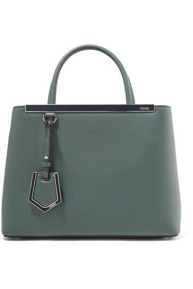 fendi female fendi 2jours petite leather shopper gray green