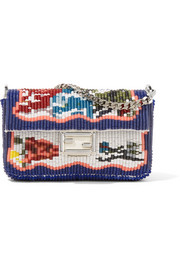 Baguette micro embellished leather shoulder bag