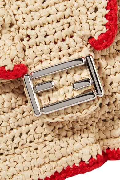 Fendi Baguette micro Schultertasche aus geflochtenem Stroh mit Rüschen
