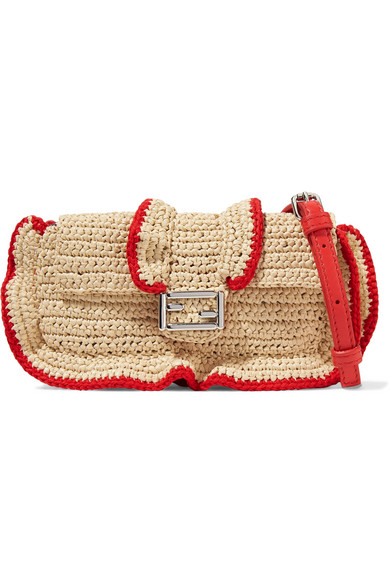 70a1f9b18d71 Fendi. Baguette micro ruffled woven straw shoulder bag