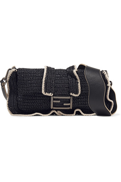 Fendi - Baguette Ruffled Woven Straw Shoulder Bag - Black