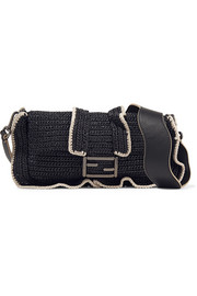 Fendi Baguette ruffled woven straw shoulder bag
