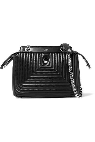 fendi female fendi dotcom click quilted leather shoulder bag black