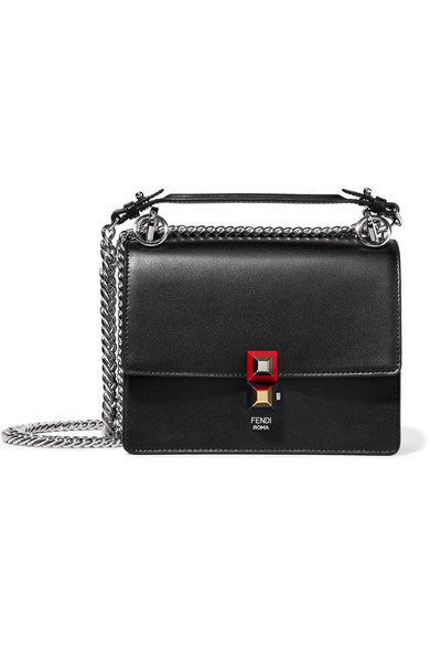 fendi female fendi mini leather shoulder bag black