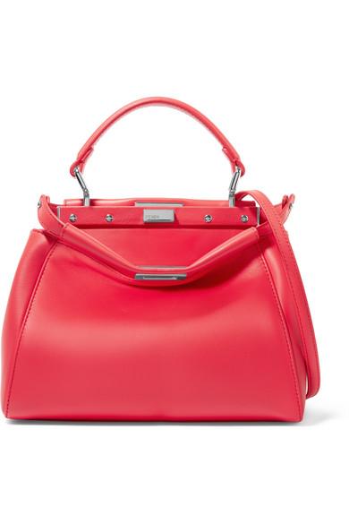 Fendi - Peekaboo Mini Leather Shoulder Bag - Red
