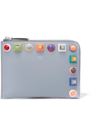 Embellished leather pouch