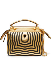Fendi DotCom Click appliquéd metallic leather shoulder bag