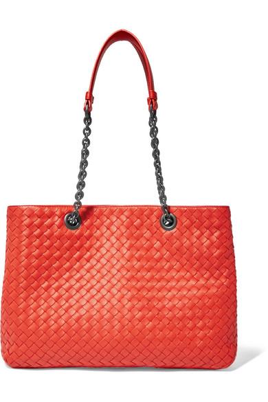 Bottega Veneta - Chain Medium Intrecciato Leather Tote - Red
