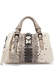 Bottega Veneta Roma small embroidered intrecciato leather and ayers tote