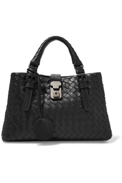 bottega veneta female bottega veneta roma mini intrecciato leather tote black