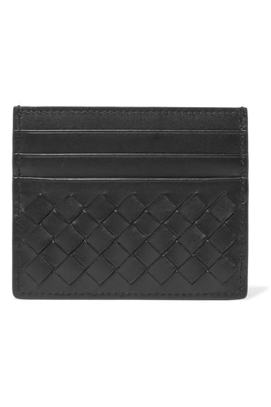 Intrecciato Leather Card Holder, Black