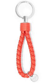 Metallic intrecciato leather keychain