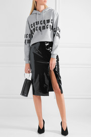 McQ Alexander McQueen Appliquéd cropped cotton-jersey hooded top